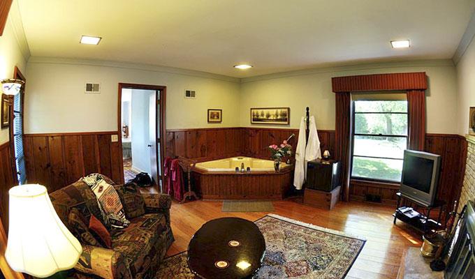 Merlin Luxury Suite Living Room Jacuzzi Pond Mountain Lodge